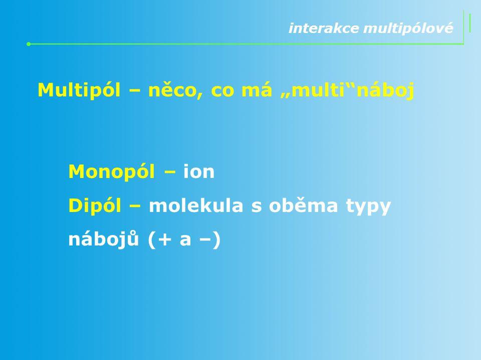 """interakce multipólové Multipól – něco, co má """"multi""""náboj Monopól – ion Dipól – molekula s oběma typy nábojů (+ a –)"""