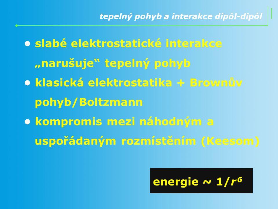 """tepelný pohyb a interakce dipól-dipól slabé elektrostatické interakce """"narušuje"""" tepelný pohyb klasická elektrostatika + Brownův pohyb/Boltzmann kompr"""