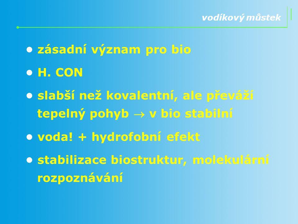 vodíkový můstek zásadní význam pro bio H. CON slabší než kovalentní, ale převáží tepelný pohyb  v bio stabilní voda! + hydrofobní efekt stabilizace b