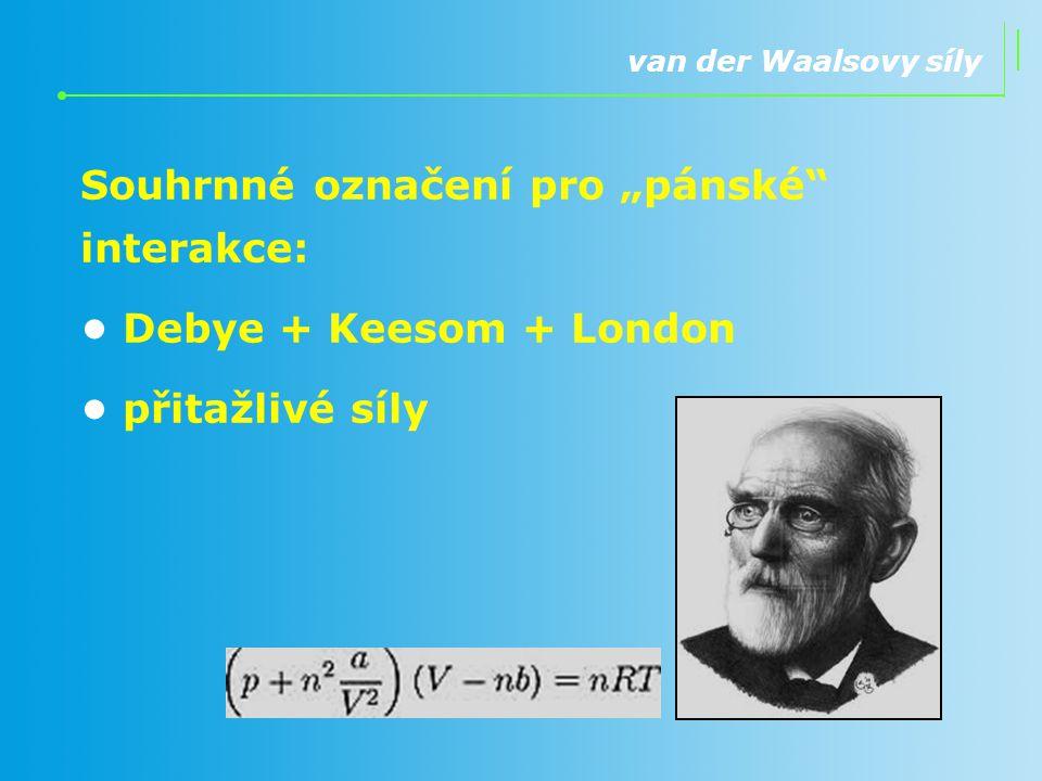 """van der Waalsovy síly Souhrnné označení pro """"pánské"""" interakce: Debye + Keesom + London přitažlivé síly"""