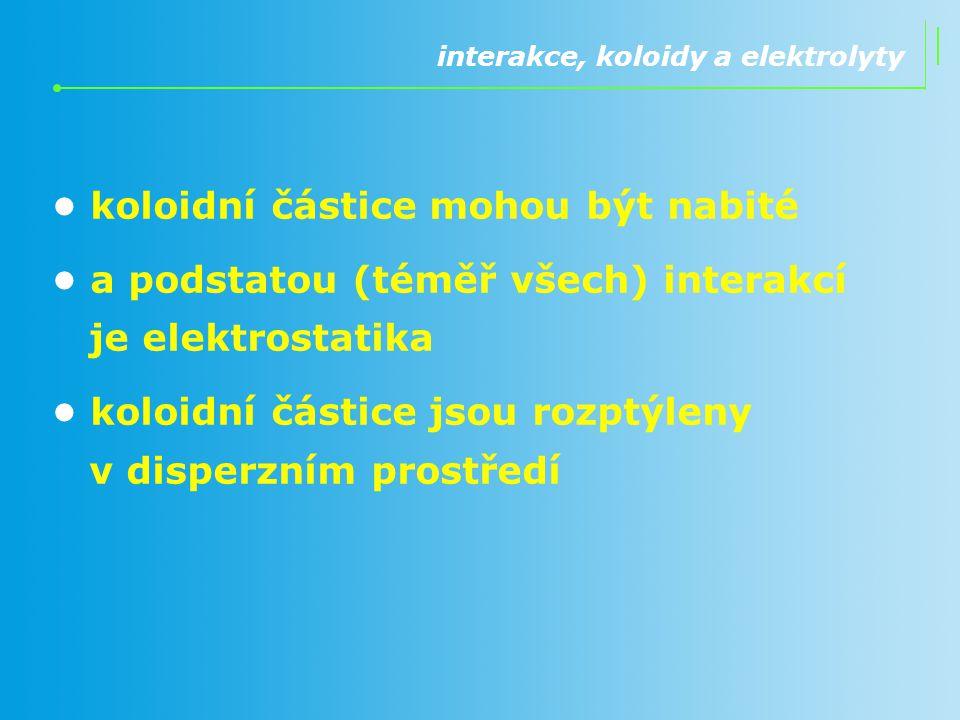 interakce, koloidy a elektrolyty koloidní částice mohou být nabité a podstatou (téměř všech) interakcí je elektrostatika koloidní částice jsou rozptýl