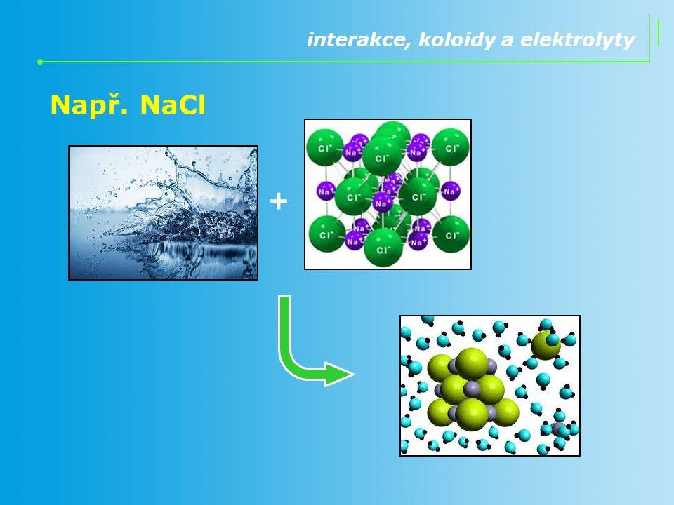 interakce, koloidy a elektrolyty Např. NaCl +