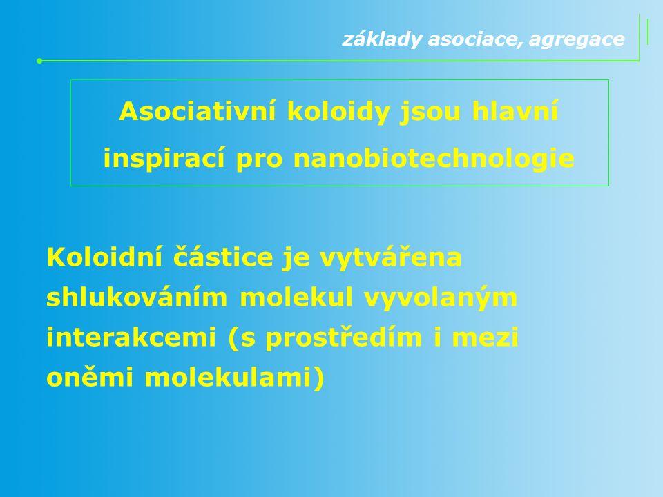 Asociativní koloidy jsou hlavní inspirací pro nanobiotechnologie základy asociace, agregace Koloidní částice je vytvářena shlukováním molekul vyvolaný