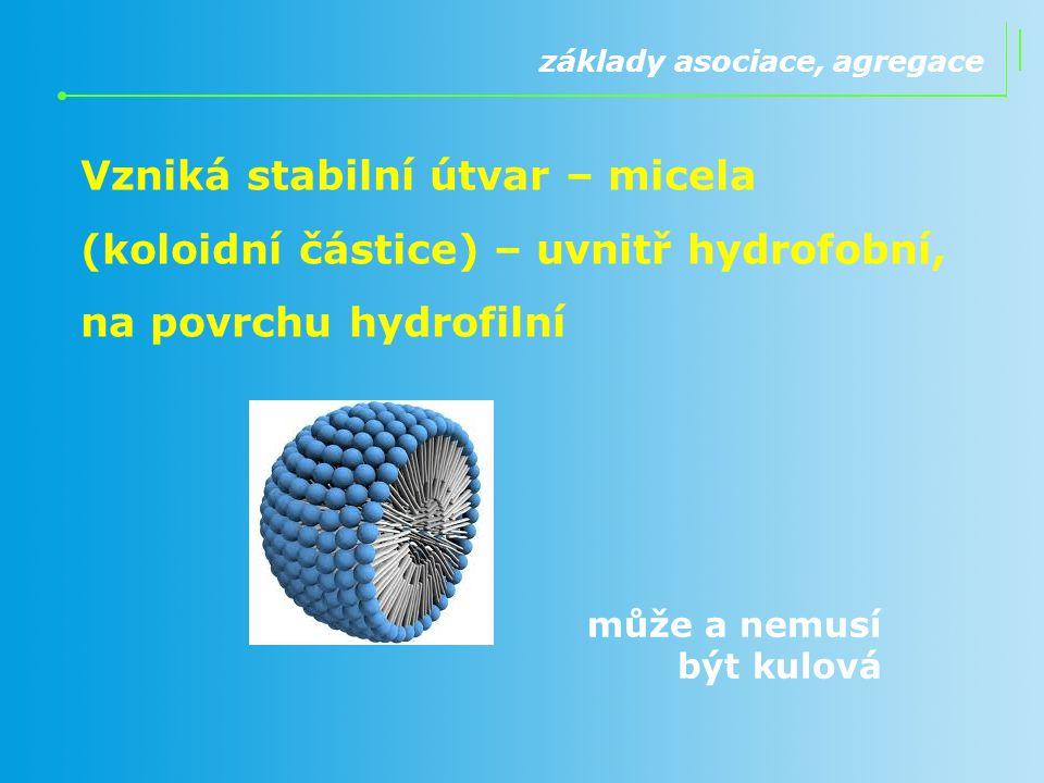 základy asociace, agregace Vzniká stabilní útvar – micela (koloidní částice) – uvnitř hydrofobní, na povrchu hydrofilní může a nemusí být kulová