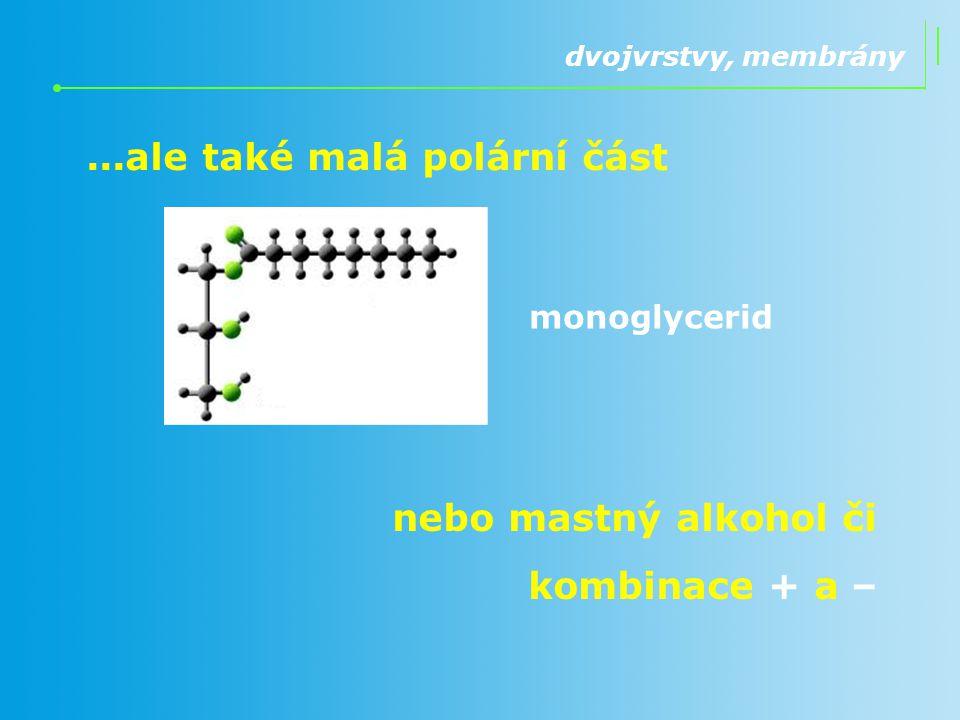 ...ale také malá polární část dvojvrstvy, membrány monoglycerid nebo mastný alkohol či kombinace + a –