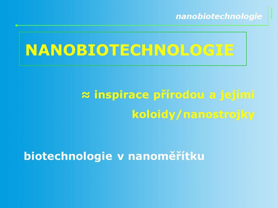 NANOBIOTECHNOLOGIE ≈ inspirace přírodou a jejími koloidy/nanostrojky nanobiotechnologie biotechnologie v nanoměřítku