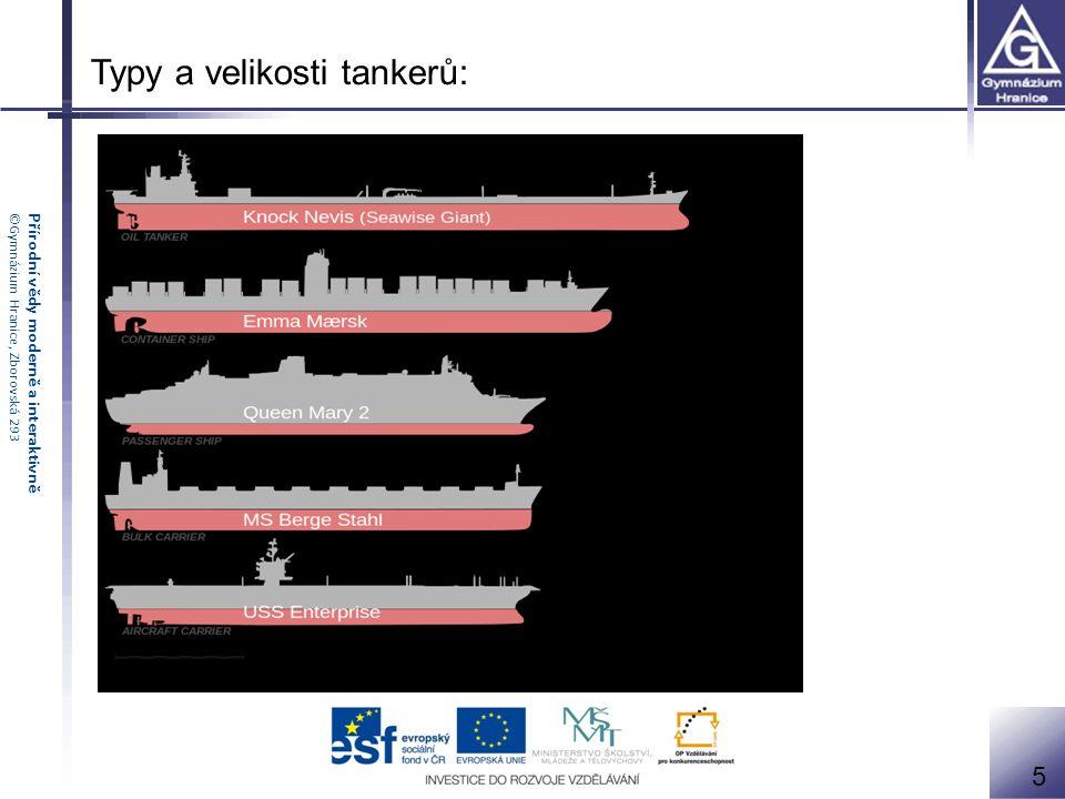 Přírodní vědy moderně a interaktivně©Gymnázium Hranice, Zborovská 293 Typy a velikosti tankerů: 5