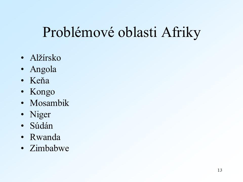 13 Problémové oblasti Afriky Alžírsko Angola Keňa Kongo Mosambik Niger Súdán Rwanda Zimbabwe