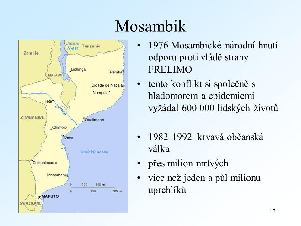 17 Mosambik 1976 Mosambické národní hnutí odporu proti vládě strany FRELIMO tento konflikt si společně s hladomorem a epidemiemi vyžádal 600 000 lidských životů 1982 – 1992 krvavá občanská válka přes milion mrtvých více než jeden a půl milionu uprchlíků