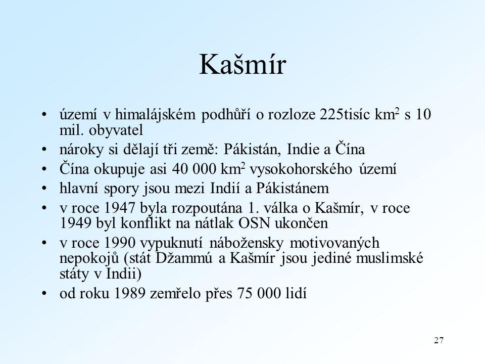 27 Kašmír území v himalájském podhůří o rozloze 225tisíc km 2 s 10 mil.