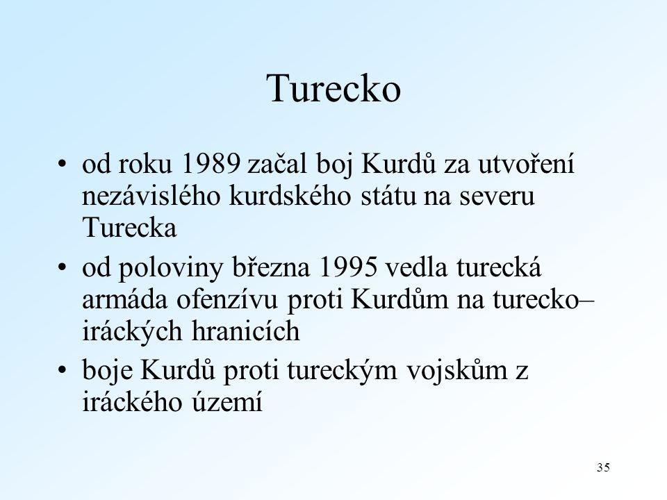 35 Turecko od roku 1989 začal boj Kurdů za utvoření nezávislého kurdského státu na severu Turecka od poloviny března 1995 vedla turecká armáda ofenzívu proti Kurdům na turecko– iráckých hranicích boje Kurdů proti tureckým vojskům z iráckého území