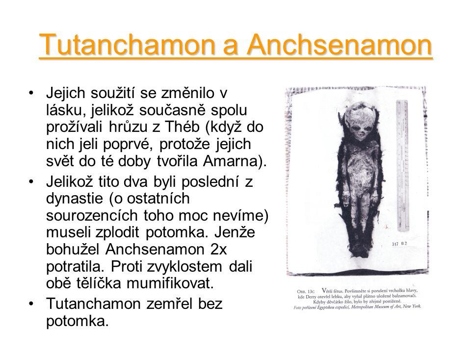 Tutanchamon a Anchsenamon Jejich soužití se změnilo v lásku, jelikož současně spolu prožívali hrůzu z Théb (když do nich jeli poprvé, protože jejich s