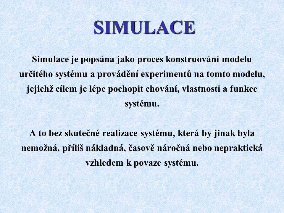 SIMULACE Simulace je popsána jako proces konstruování modelu určitého systému a provádění experimentů na tomto modelu, jejichž cílem je lépe pochopit
