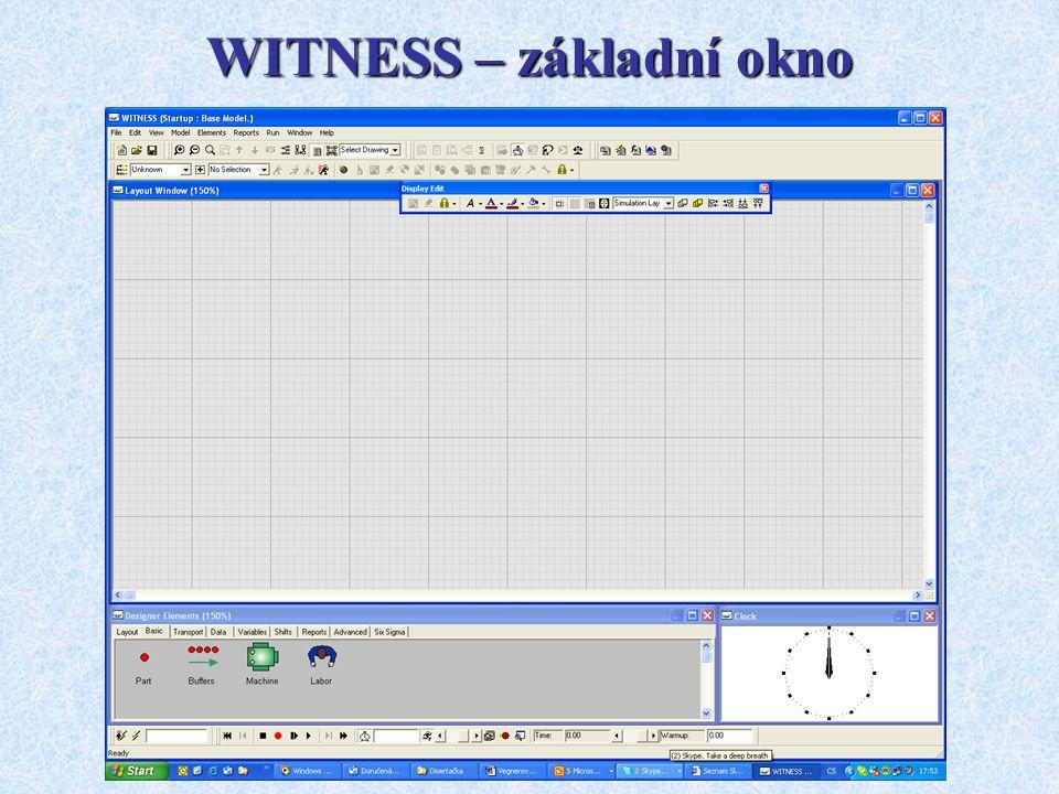 WITNESS – základní okno