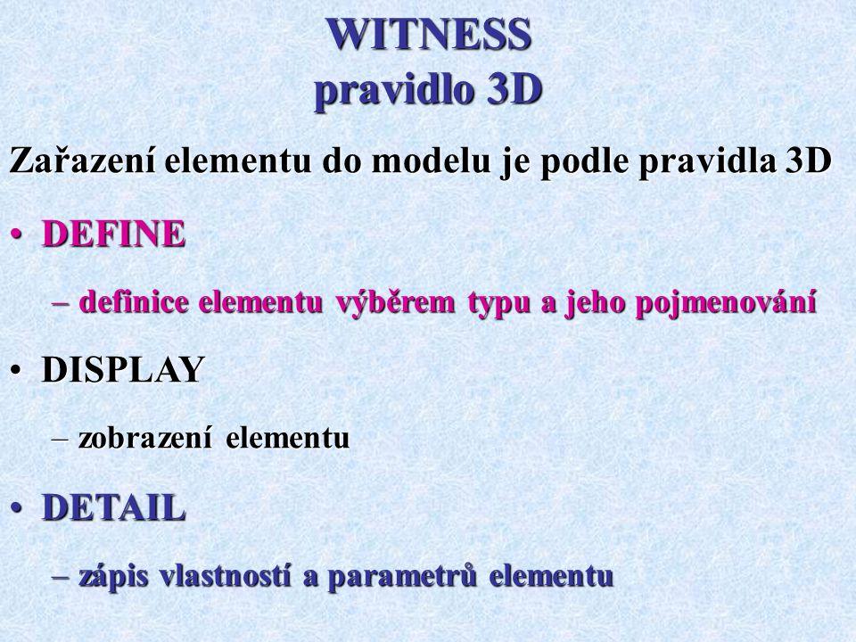 WITNESS pravidlo 3D Zařazení elementu do modelu je podle pravidla 3D DEFINEDEFINE –definice elementu výběrem typu a jeho pojmenování DISPLAYDISPLAY –zobrazení elementu DETAILDETAIL –zápis vlastností a parametrů elementu
