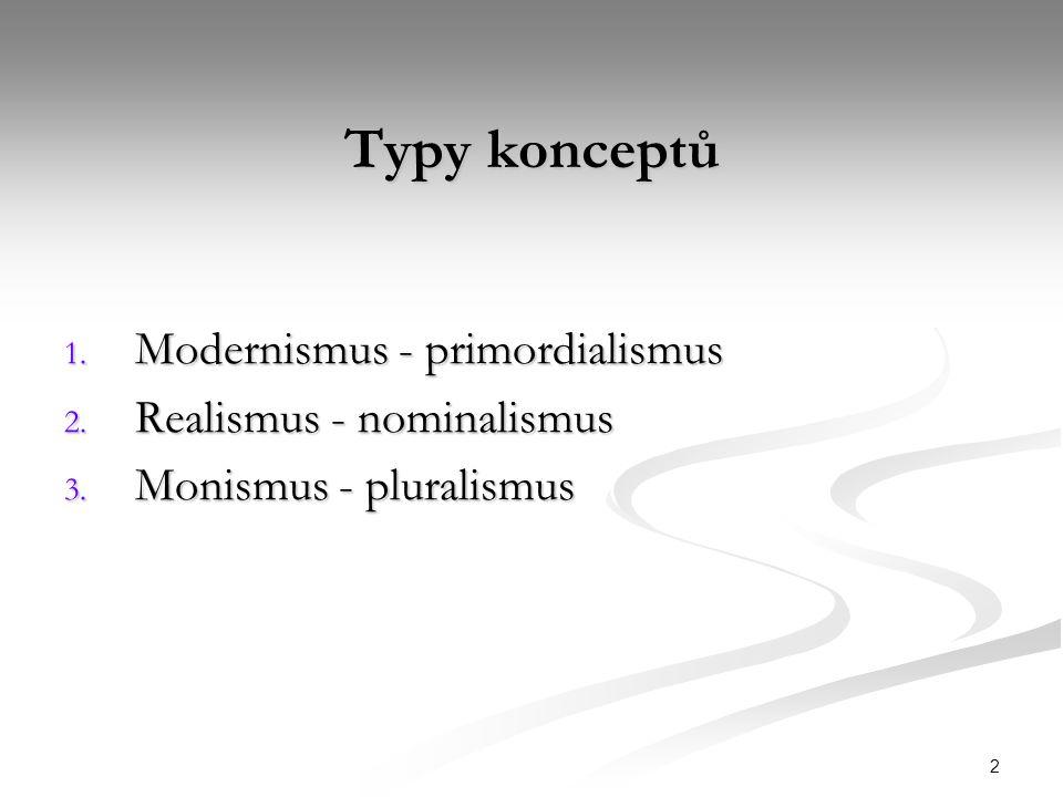 2 Typy konceptů 1. Modernismus - primordialismus 2.