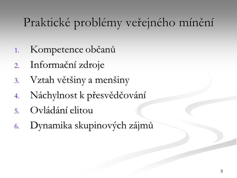 9 Praktické problémy veřejného mínění 1. Kompetence občanů 2.