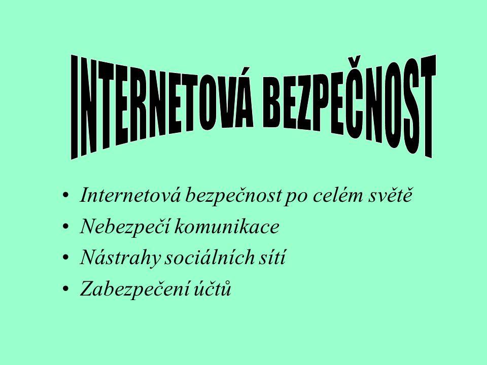 Název: Internetová bezpečnost Vypracovaly: Eva Štrausová a Nikola Horká, věk 14 let, třída: 8.A ZŠ Třebíč, Týnská 8; 674 01 Třebíč Kategorie: A Forma:4 prezentace Internetová bezpečnost, nebezpečí komunikace
