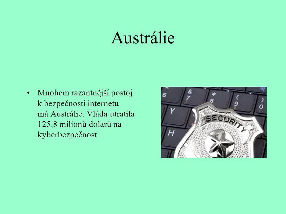 Austrálie Mnohem razantnější postoj k bezpečnosti internetu má Austrálie. Vláda utratila 125,8 milionů dolarů na kyberbezpečnost.