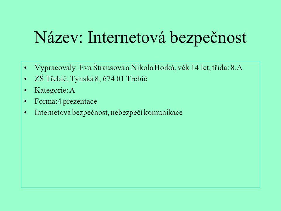 Název: Internetová bezpečnost Vypracovaly: Eva Štrausová a Nikola Horká, věk 14 let, třída: 8.A ZŠ Třebíč, Týnská 8; 674 01 Třebíč Kategorie: A Forma: