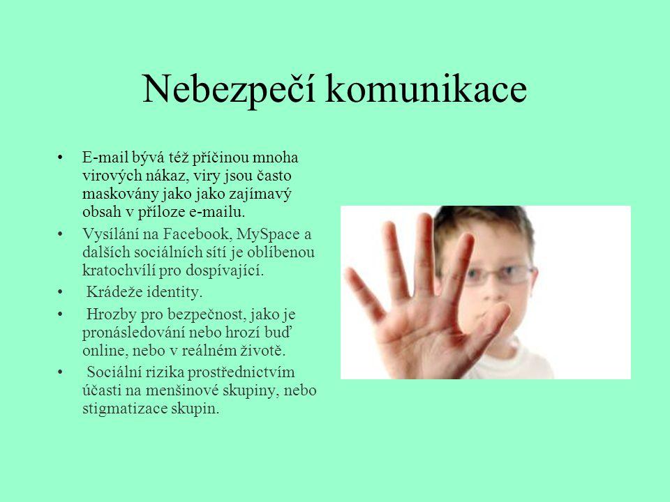 Nebezpečí komunikace E-mail bývá též příčinou mnoha virových nákaz, viry jsou často maskovány jako jako zajímavý obsah v příloze e-mailu. Vysílání na