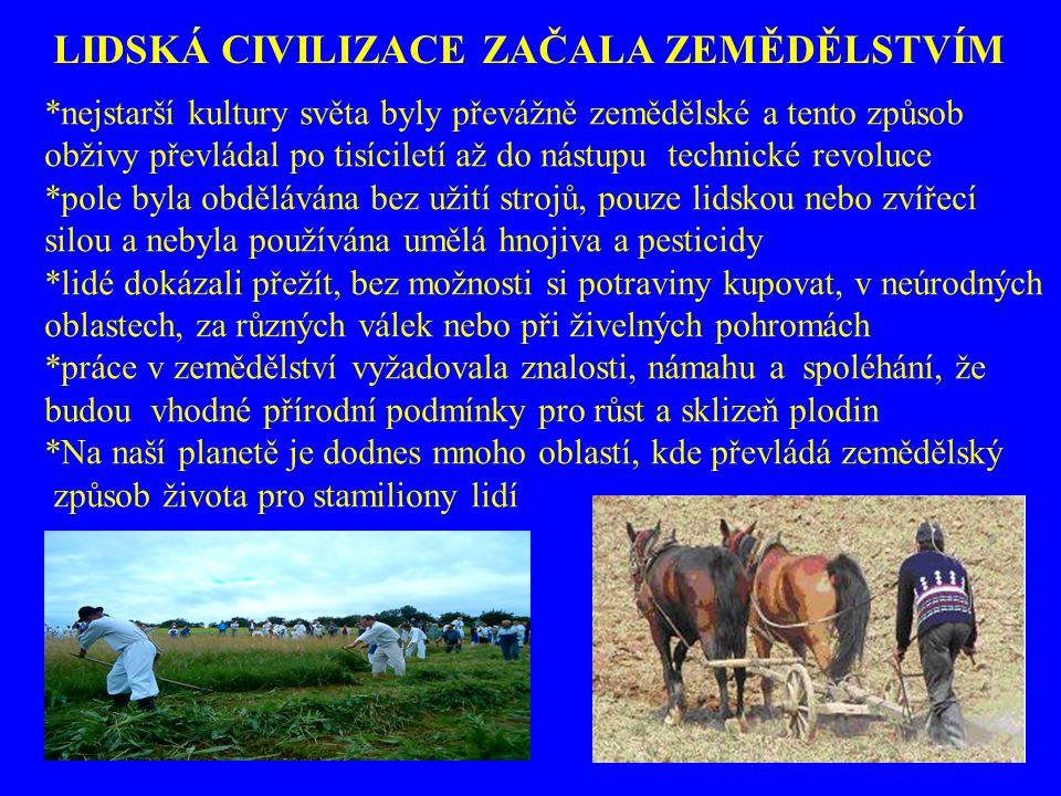*nejstarší kultury světa byly převážně zemědělské a tento způsob obživy převládal po tisíciletí až do nástupu technické revoluce *pole byla obdělávána