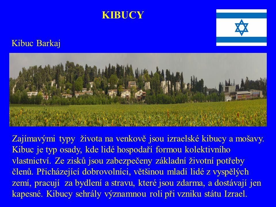 Zajímavými typy života na venkově jsou izraelské kibucy a mošavy. Kibuc je typ osady, kde lidé hospodaří formou kolektivního vlastnictví. Ze zisků jso