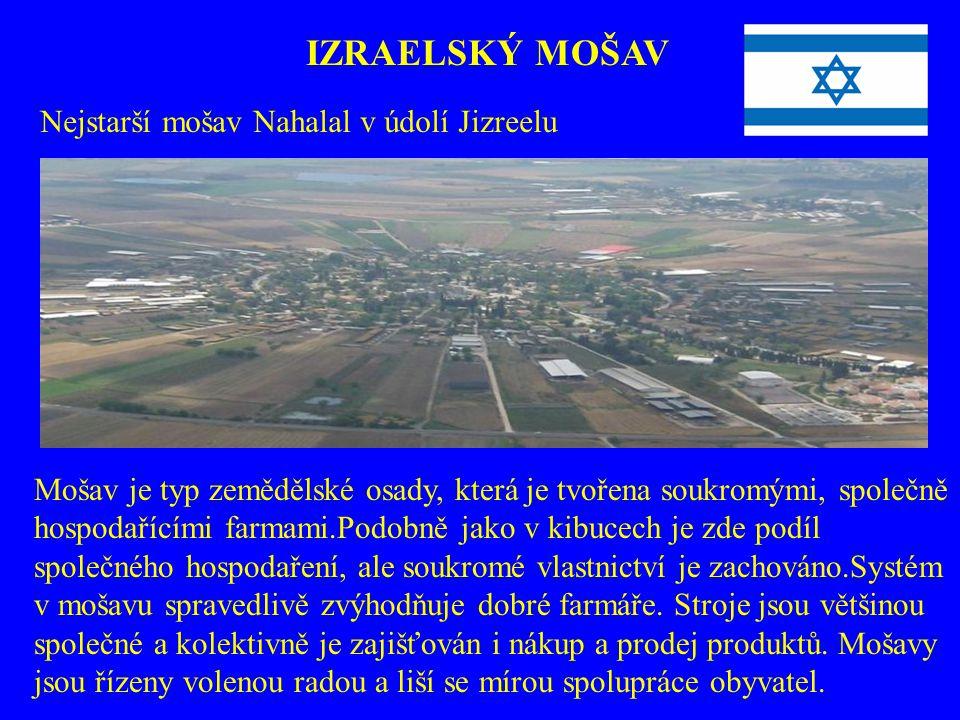 IZRAELSKÝ MOŠAV Nejstarší mošav Nahalal v údolí Jizreelu Mošav je typ zemědělské osady, která je tvořena soukromými, společně hospodařícími farmami.Po