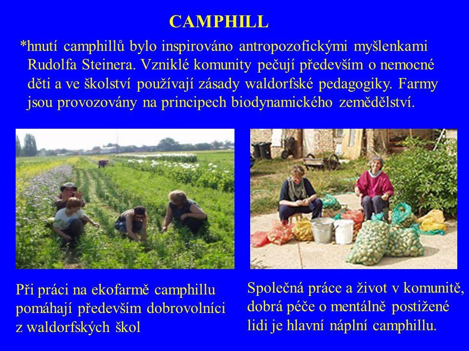 Při práci na ekofarmě camphillu pomáhají především dobrovolníci z waldorfských škol Společná práce a život v komunitě, dobrá péče o mentálně postižené