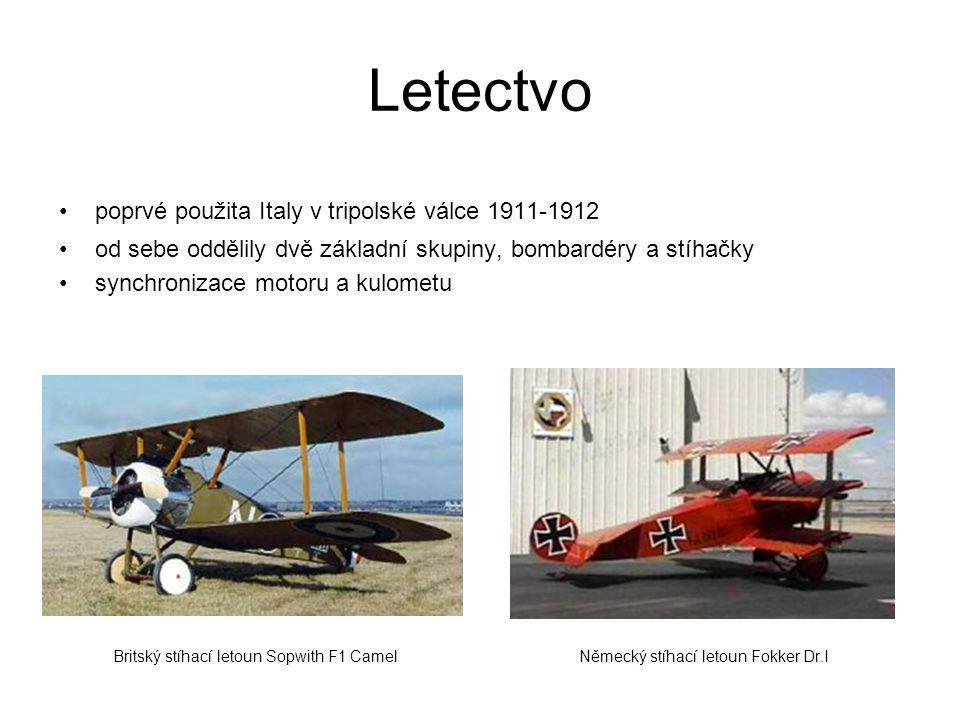 Letectvo poprvé použita Italy v tripolské válce 1911-1912 od sebe oddělily dvě základní skupiny, bombardéry a stíhačky synchronizace motoru a kulometu