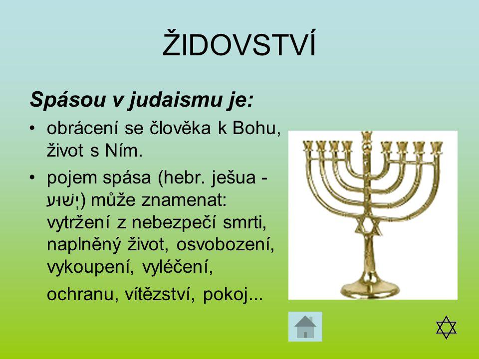 ŽIDOVSTVÍ Spásou v judaismu je: obrácení se člověka k Bohu, život s Ním. pojem spása (hebr. ješua - יְשׁוּע) může znamenat: vytržení z nebezpečí smrti