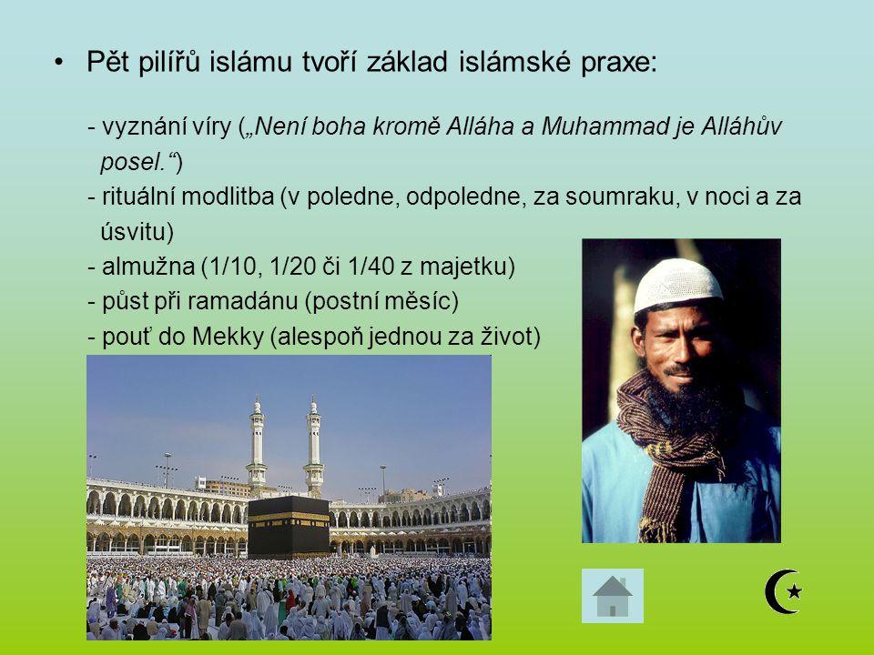 """Pět pilířů islámu tvoří základ islámské praxe: - vyznání víry (""""Není boha kromě Alláha a Muhammad je Alláhův posel."""") - rituální modlitba (v poledne,"""