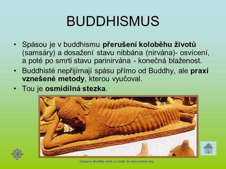 BUDDHISMUS Spásou je v buddhismu přerušení koloběhu životů (samsáry) a dosažení stavu nibbána (nirvána)- osvícení, a poté po smrti stavu parinirvána -