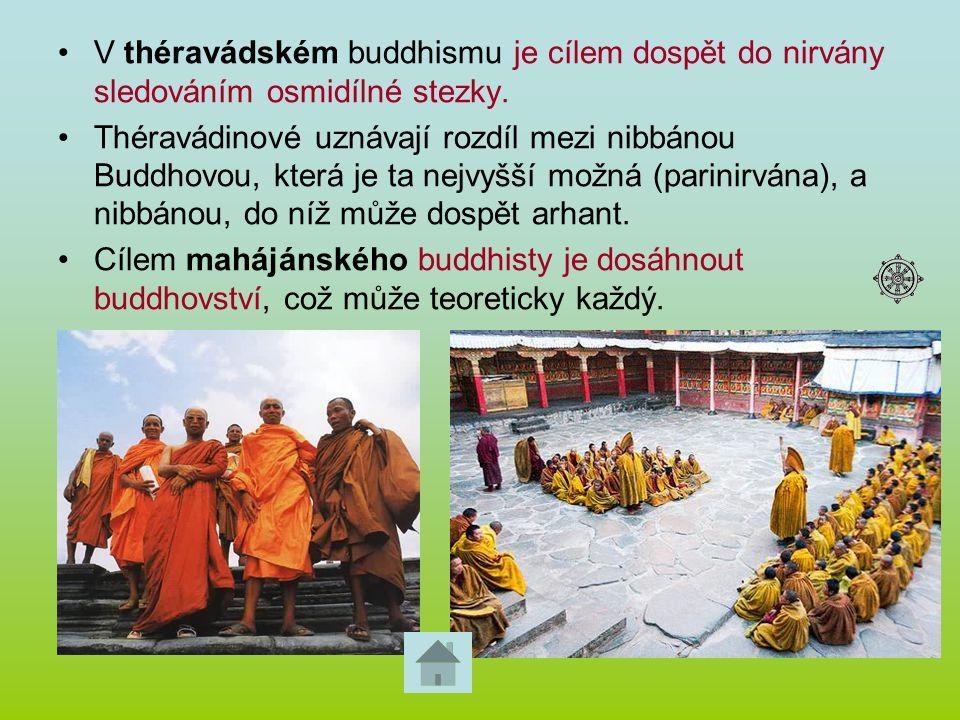 V théravádském buddhismu je cílem dospět do nirvány sledováním osmidílné stezky. Théravádinové uznávají rozdíl mezi nibbánou Buddhovou, která je ta ne