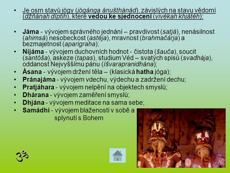 Je osm stavů jógy (jógánga ánušthánád), závislých na stavu vědomí (džňánah díptih), které vedou ke sjednocení (vivékah khjátéh): Jáma - vývojem správn