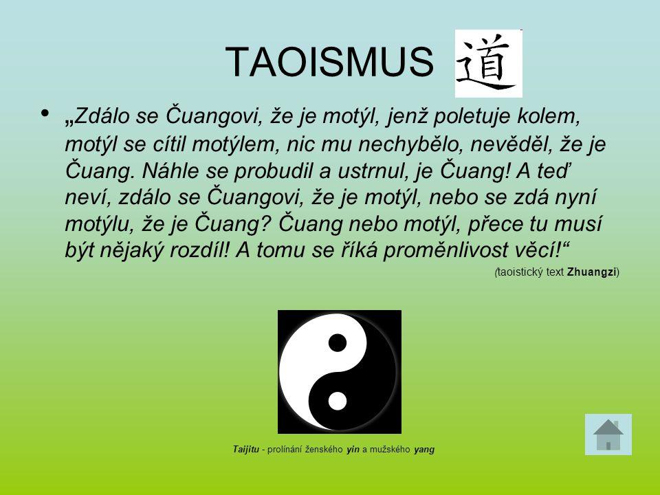 """TAOISMUS """" Zdálo se Čuangovi, že je motýl, jenž poletuje kolem, motýl se cítil motýlem, nic mu nechybělo, nevěděl, že je Čuang. Náhle se probudil a us"""