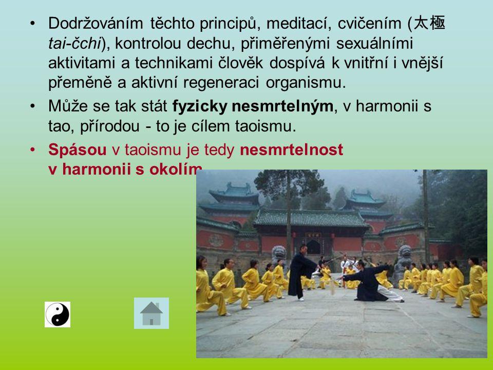 Dodržováním těchto principů, meditací, cvičením ( 太極 tai-čchi), kontrolou dechu, přiměřenými sexuálními aktivitami a technikami člověk dospívá k vnitř
