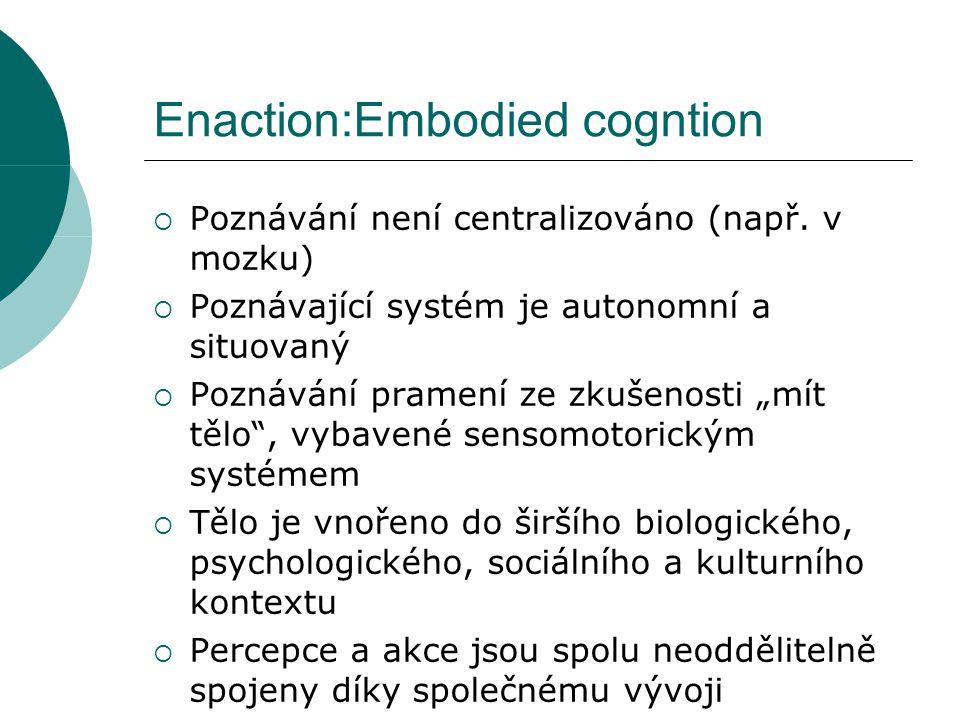 Enaction:Embodied cogntion  Poznávání není centralizováno (např.