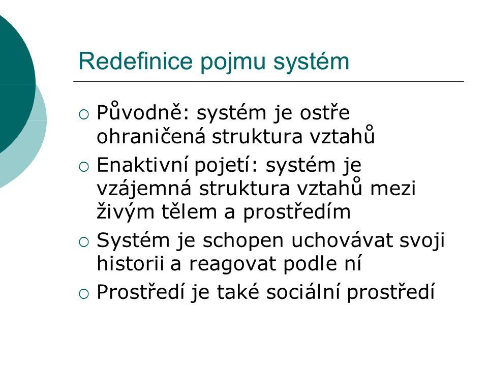 Redefinice pojmu systém  Původně: systém je ostře ohraničená struktura vztahů  Enaktivní pojetí: systém je vzájemná struktura vztahů mezi živým tělem a prostředím  Systém je schopen uchovávat svoji historii a reagovat podle ní  Prostředí je také sociální prostředí