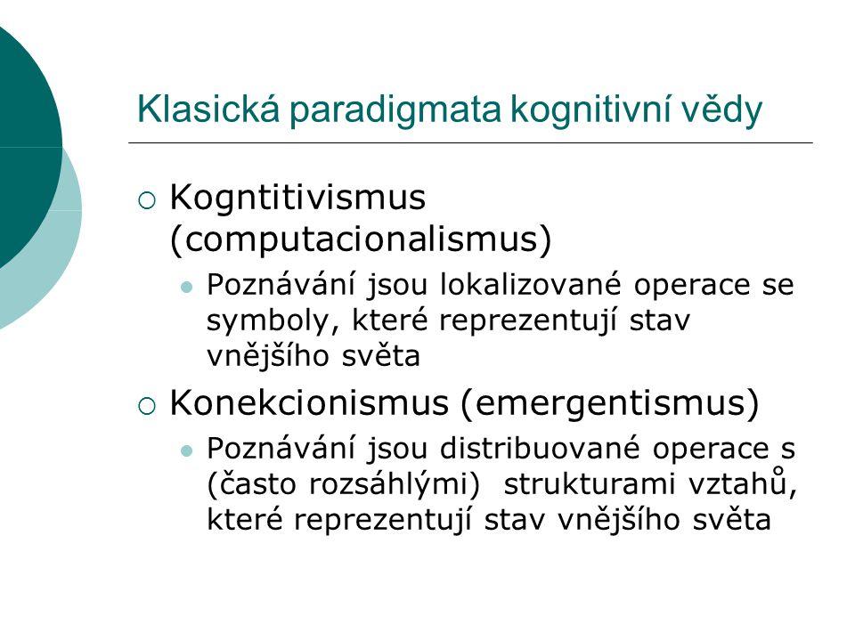 Klasická paradigmata kognitivní vědy  Kogntitivismus (computacionalismus) Poznávání jsou lokalizované operace se symboly, které reprezentují stav vnějšího světa  Konekcionismus (emergentismus) Poznávání jsou distribuované operace s (často rozsáhlými) strukturami vztahů, které reprezentují stav vnějšího světa