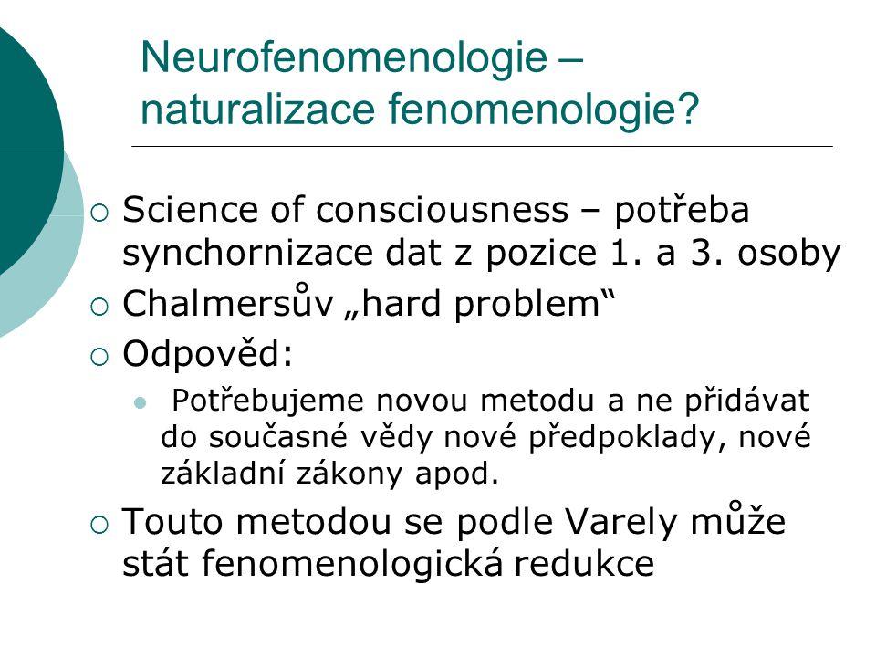 Neurofenomenologie – naturalizace fenomenologie.