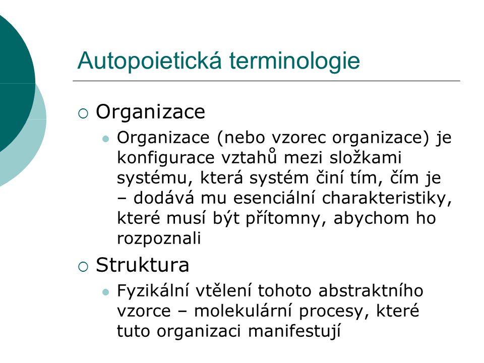 Autopoietická organizace  Nový způsob jak chápat biochemické detaily buněčného fungování.