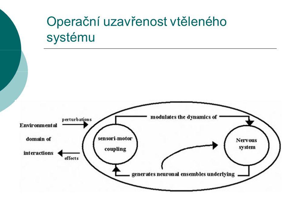 """Poznávání (cognition)  Činnost autopoietických systémů  Maturana: """"Živé systémy jsou poznávající systémy a žití jako proces je procesem poznávání.  Strukturální změny v systému jako výsledek opakovaných strukturálních spojování (structural coupling) s prostředím jsou poznáváním  Poznávání je efektivní vtělená akce (enaction)"""