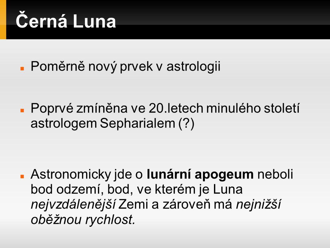 Černá Luna Někteří astrologové ovšem definují Černou Lunu jako druhé ohnisko lunární dráhy.