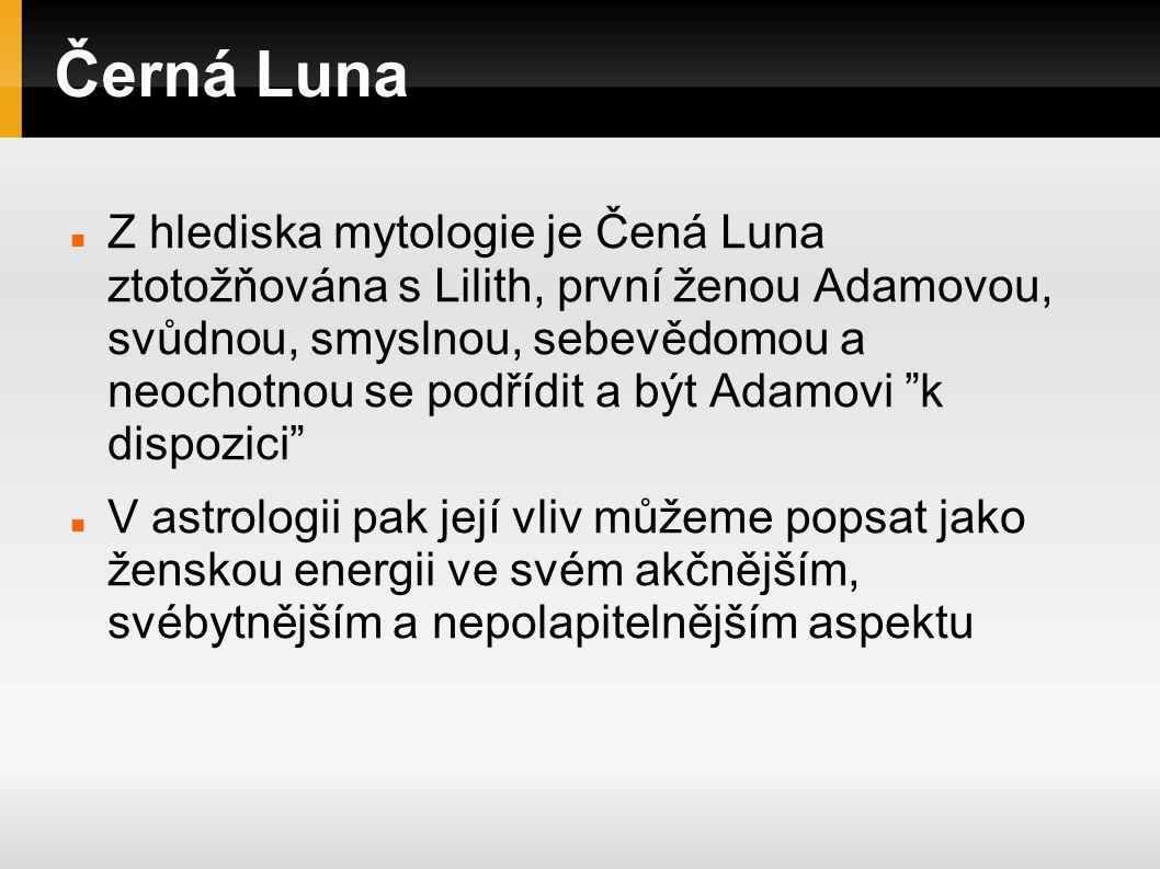 Černá Luna Osobně nesdílím onen poněkud jednostranně šovinisticky odsuzující pohled na Lilith, který je přirozeně způsoben patriarchálním a křesťanským pohledem na svět, tudíž podle mne není Lilith ani zlá, ani nevraždí malé děti a už vůbec není zákeřná a nemá žádné démonické vlastnosti.