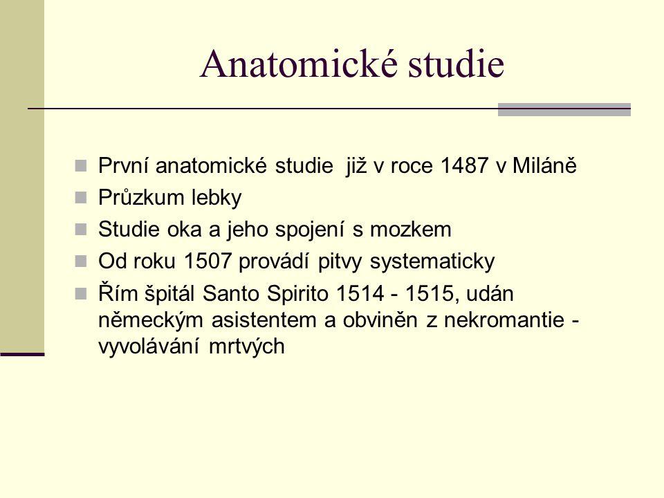Anatomické studie První anatomické studie již v roce 1487 v Miláně Průzkum lebky Studie oka a jeho spojení s mozkem Od roku 1507 provádí pitvy systema