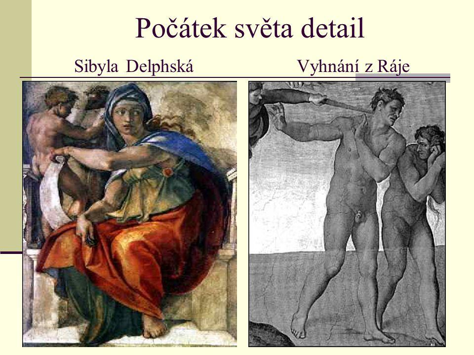 Počátek světa detail Sibyla Delphská Vyhnání z Ráje