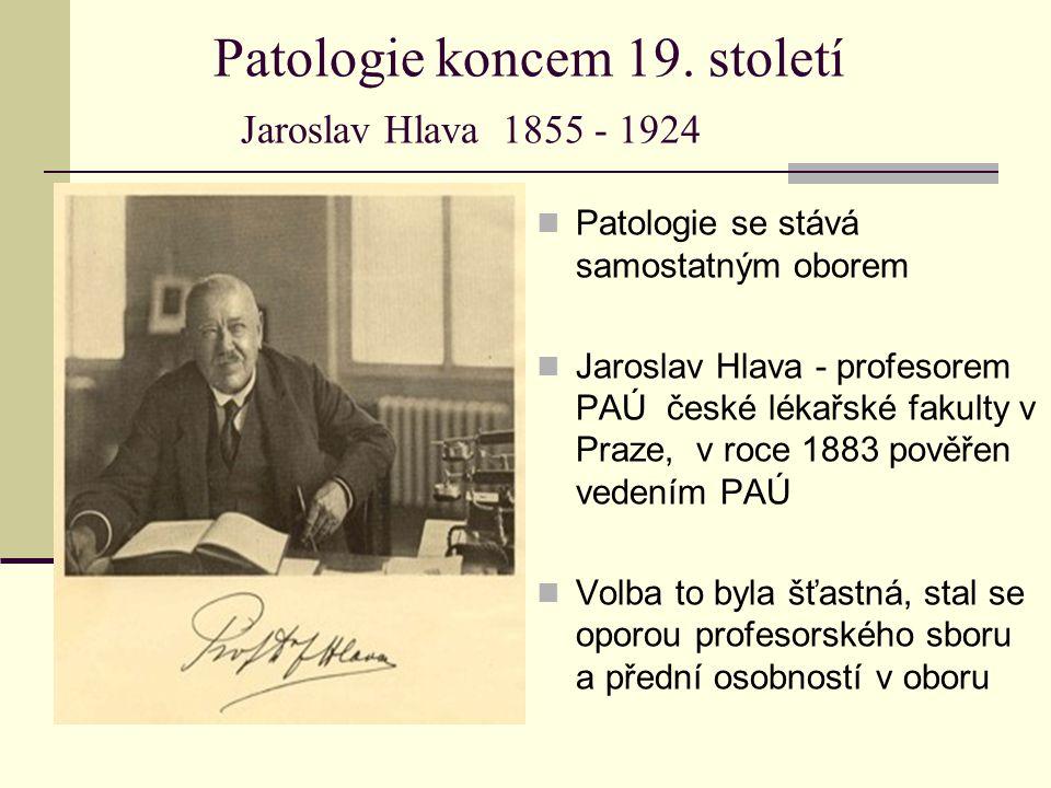 Patologie koncem 19. století Jaroslav Hlava 1855 - 1924 Patologie se stává samostatným oborem Jaroslav Hlava - profesorem PAÚ české lékařské fakulty v