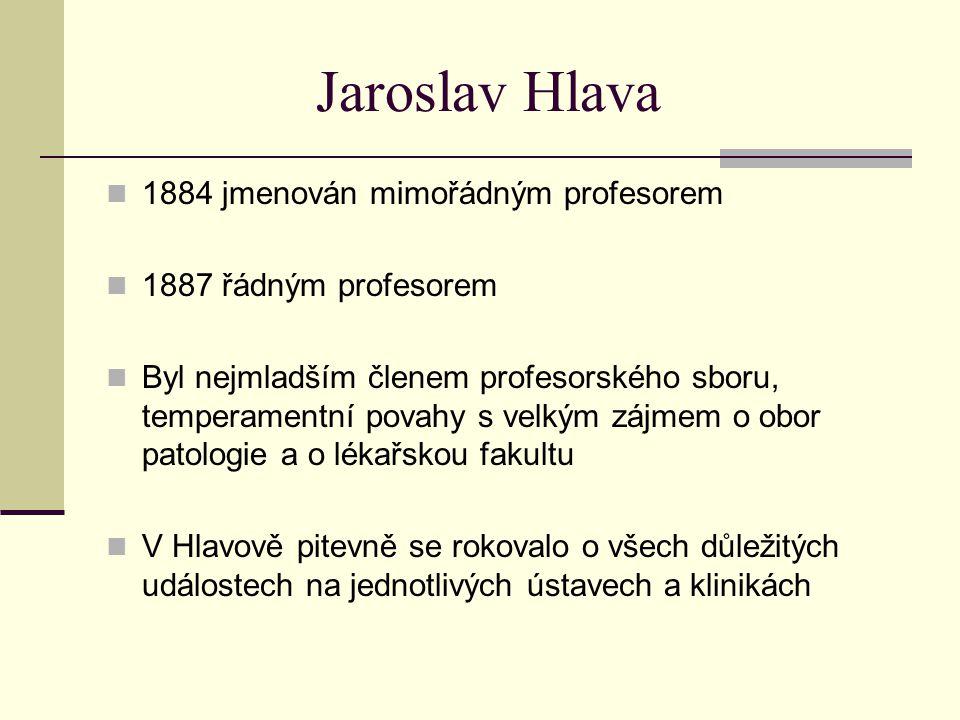 Jaroslav Hlava 1884 jmenován mimořádným profesorem 1887 řádným profesorem Byl nejmladším členem profesorského sboru, temperamentní povahy s velkým záj