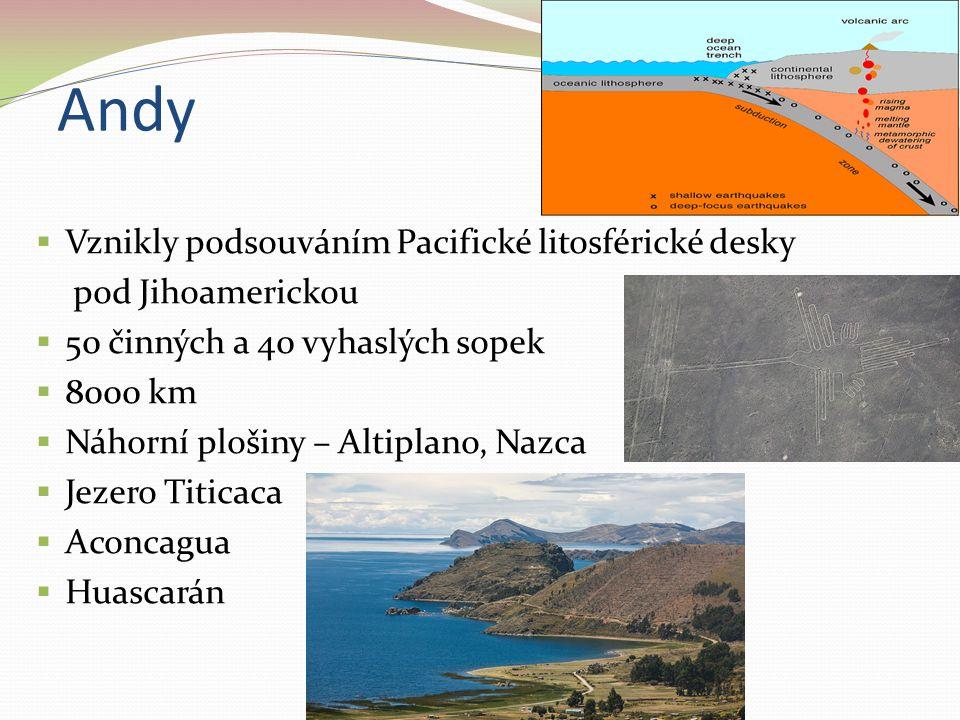 Andy  Vznikly podsouváním Pacifické litosférické desky pod Jihoamerickou  50 činných a 40 vyhaslých sopek  8000 km  Náhorní plošiny – Altiplano, N